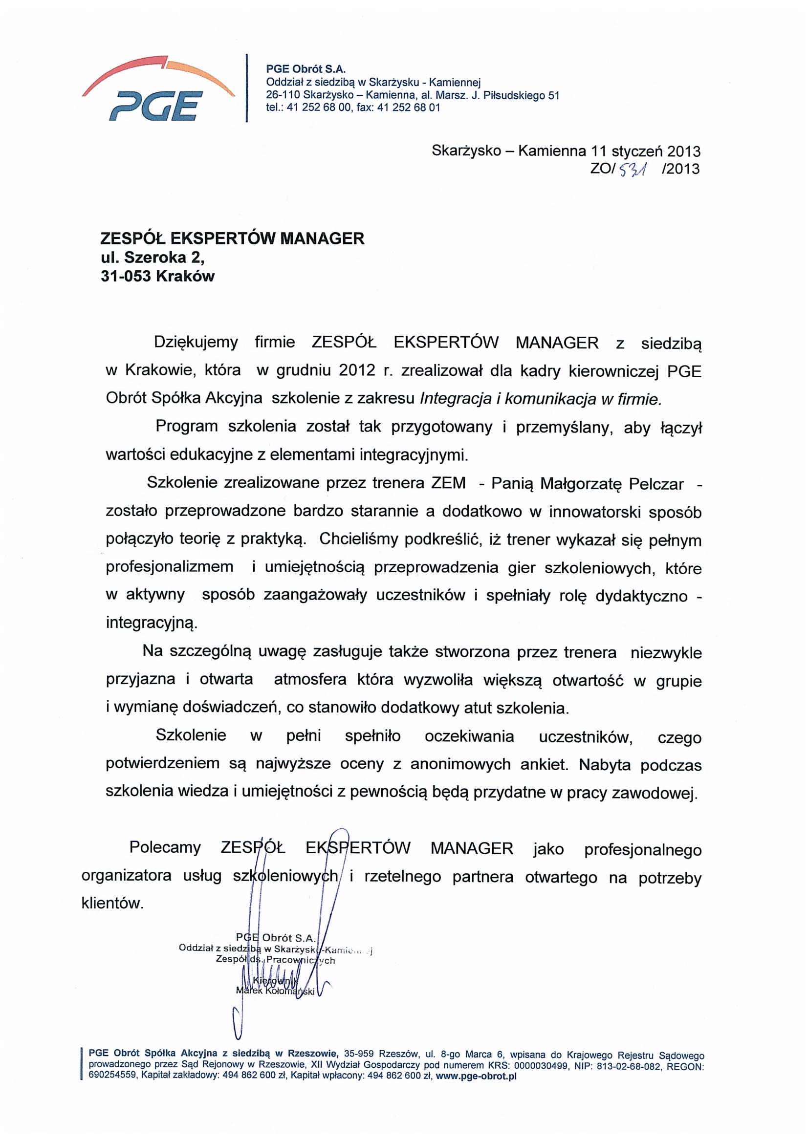 PGE OBRÓT S.A. (szkolenie)
